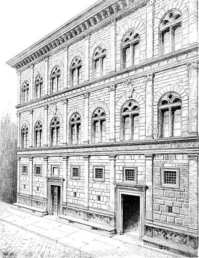Palazzo Rucellai 1447 1451 Firenze10 Disegno Prospettico Facciata